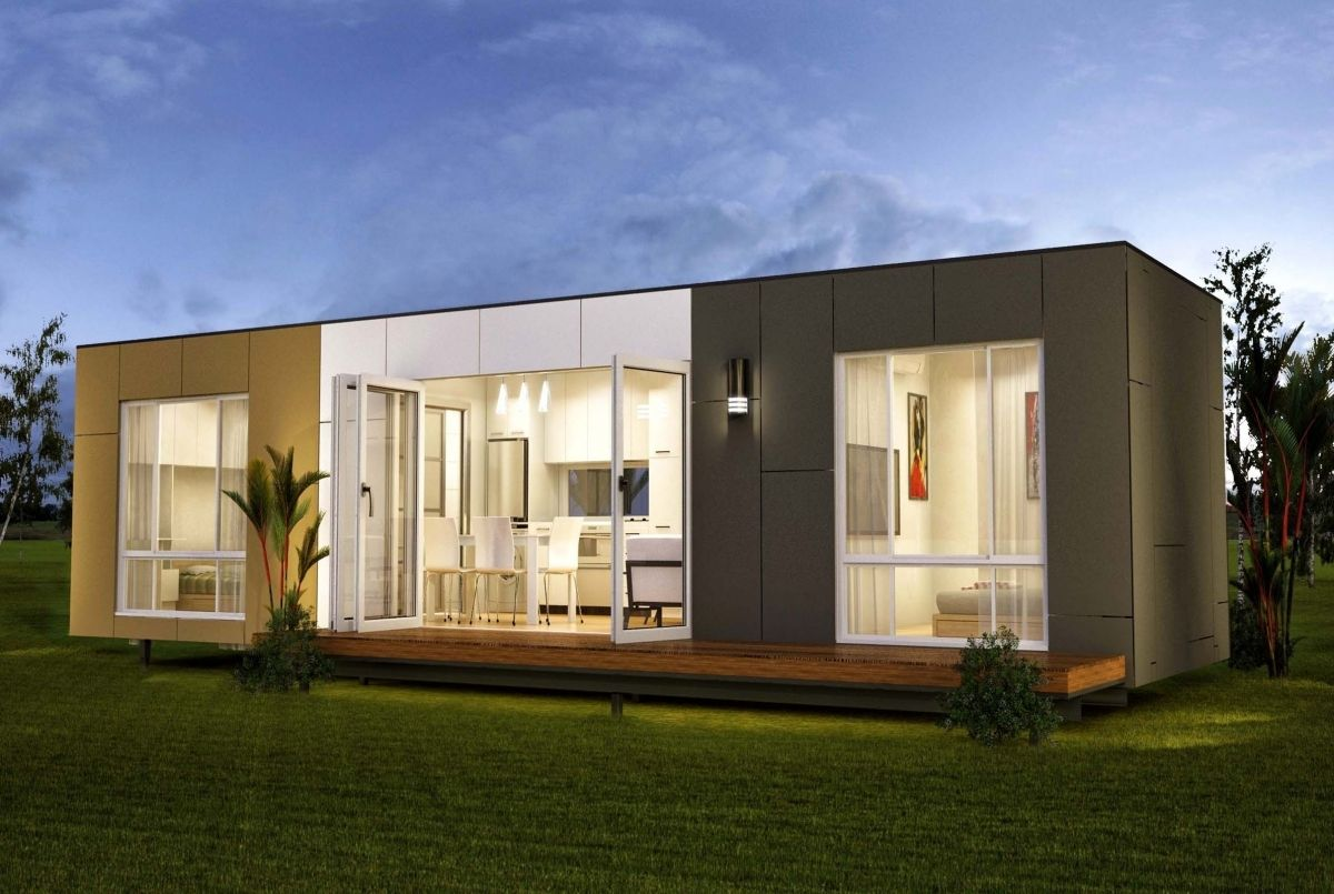 Modular shipping container homes in granny flat ideas on for Beach box house plans