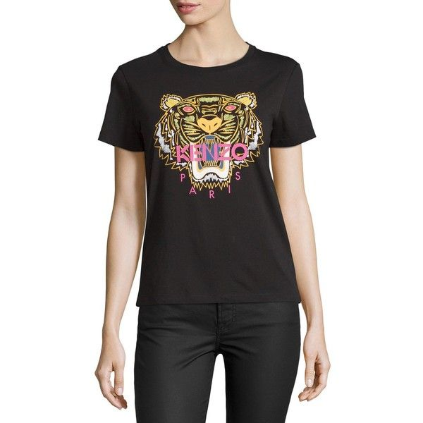 Kenzo Light Single Jersey Tiger T-Shirt (£96) ❤ liked on Polyvore featuring  tops, t-shirts, begonia, cotton crew neck t shirts, short sleeve crew neck t  ... 9b89baff780