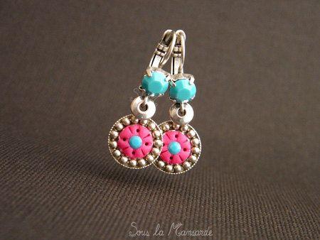 Mini Chic turquoise & fuchsia n'02 Boucles d'oreilles par Sous la Mansarde
