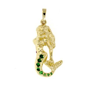 14k Yellow Gold Mermaid Green Tsavorite Charm Pendant