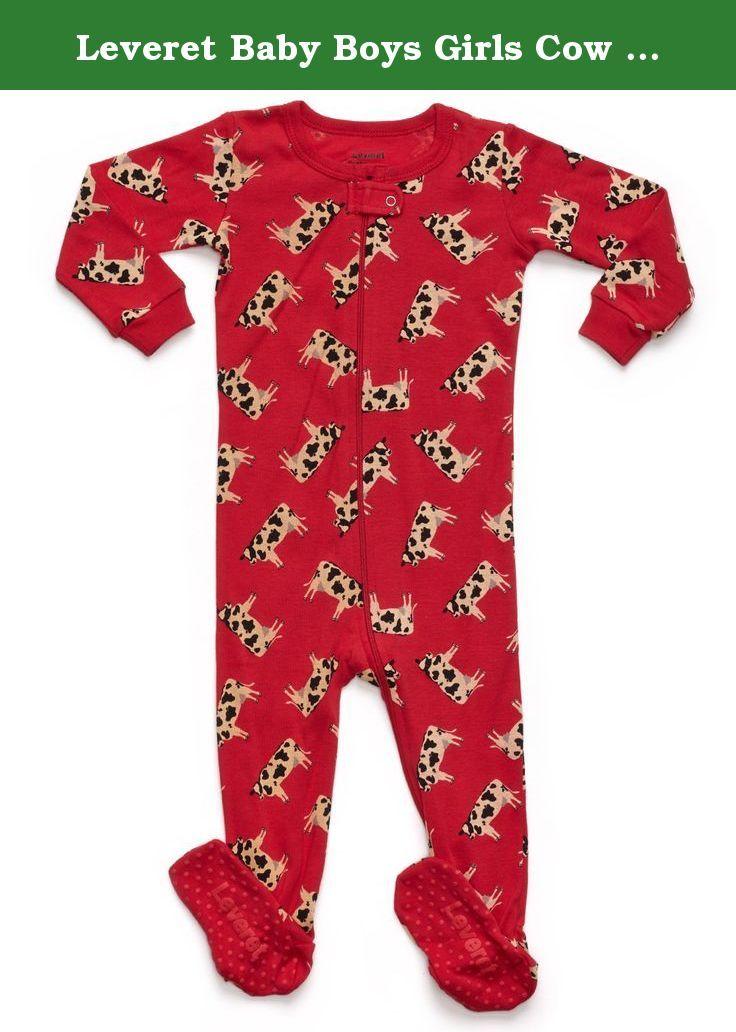 63cdf9c8b735 Leveret Baby Boys Girls Cow Footed Sleeper Pajama 100% Co…