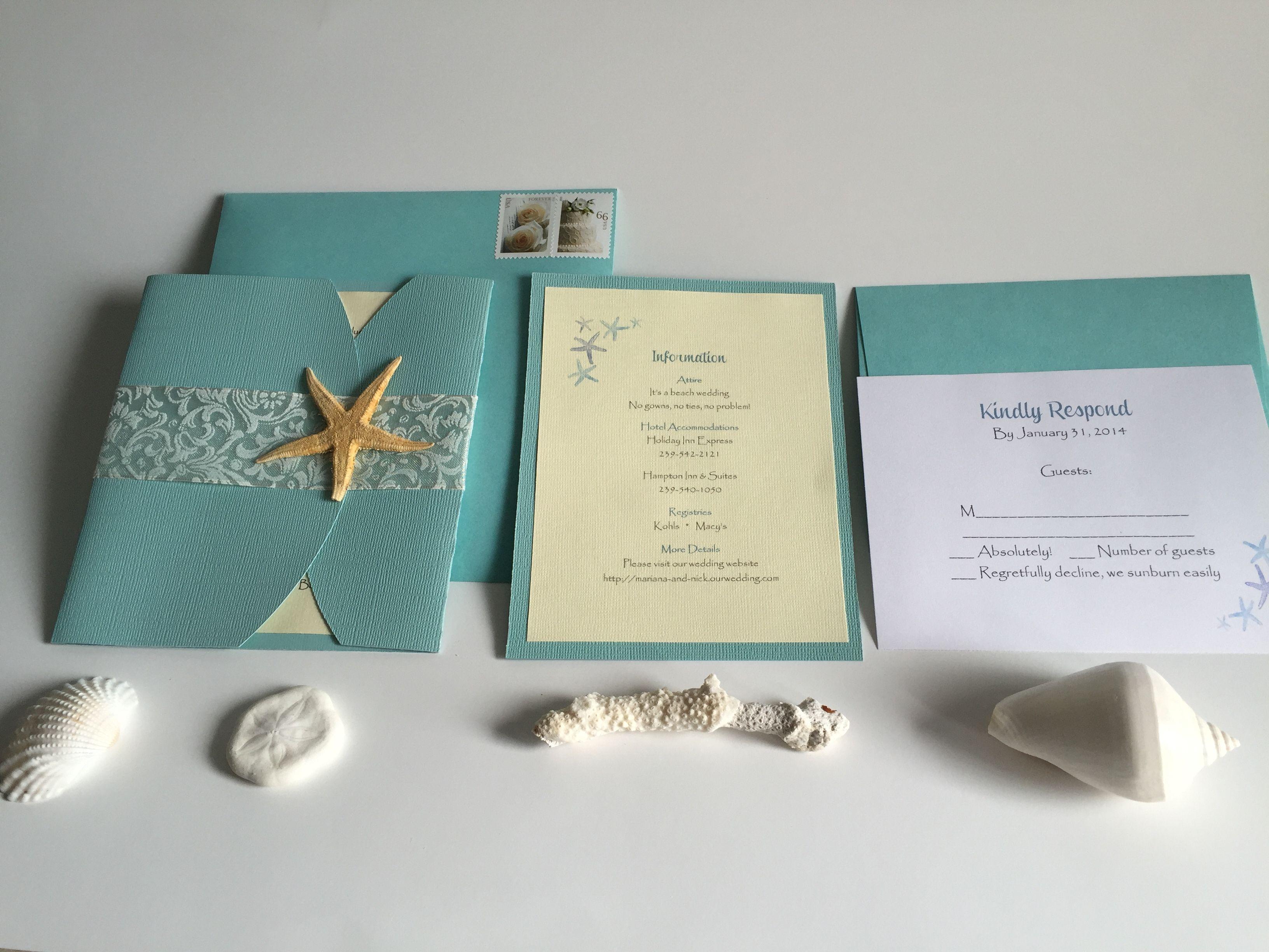 Beach Wedding Invitation Beach Wedding Invitation