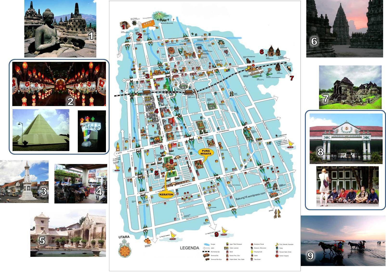 The Map Of Yogyakarta Yogyakarta Tourism And Borobudur - Yogyakarta map