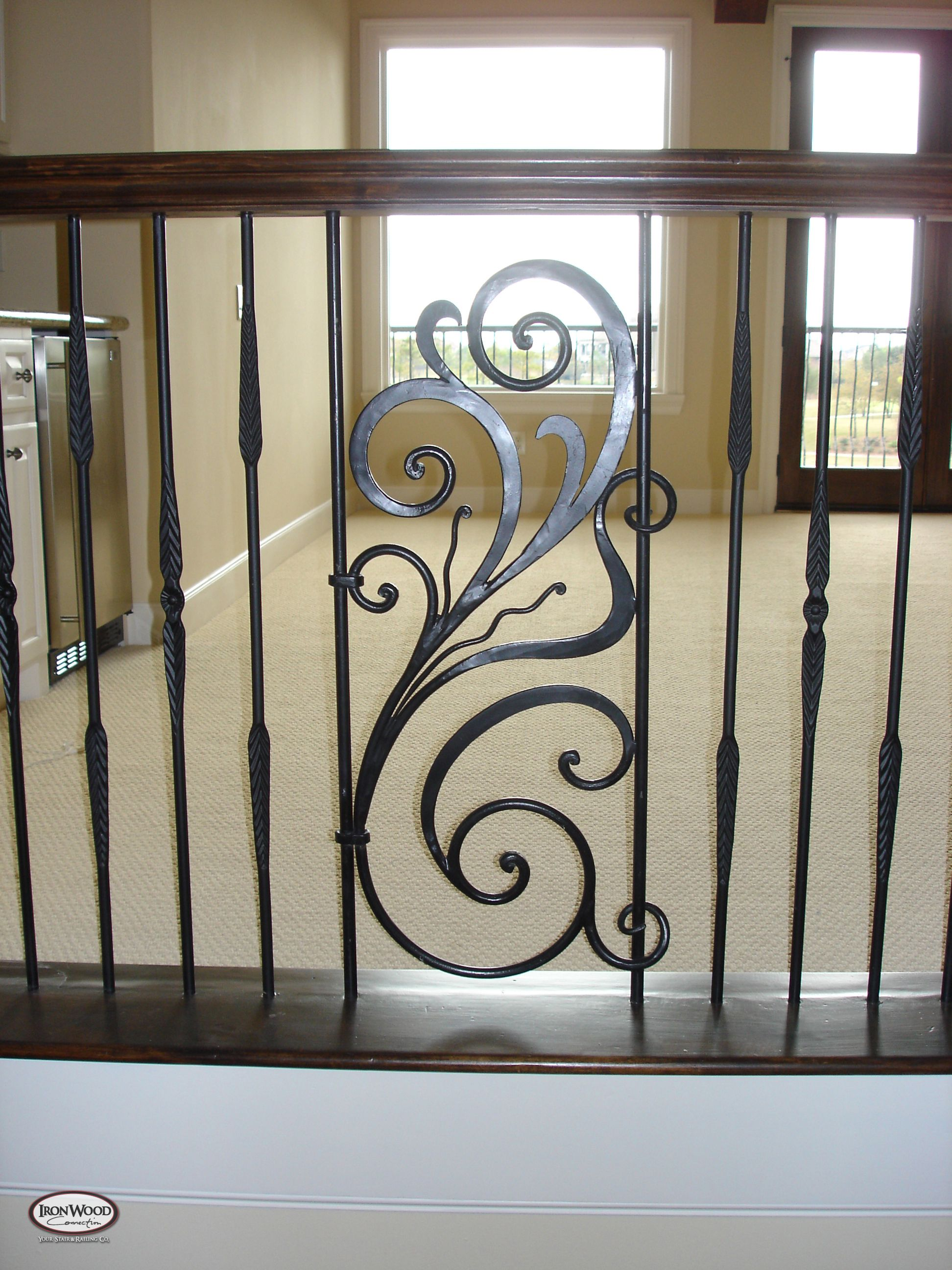 Ornamental railing panels - Wrought Iron Railing Panels In Wood Stair