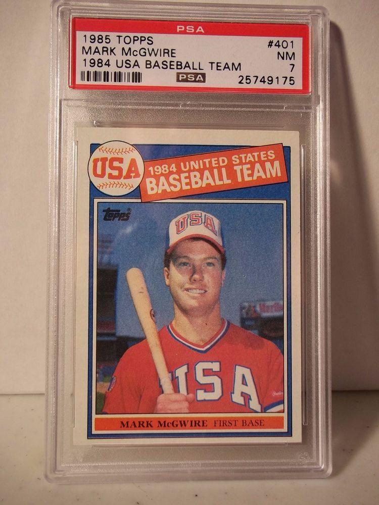 1985 topps mark mcgwire rc psa graded nm 7 baseball card