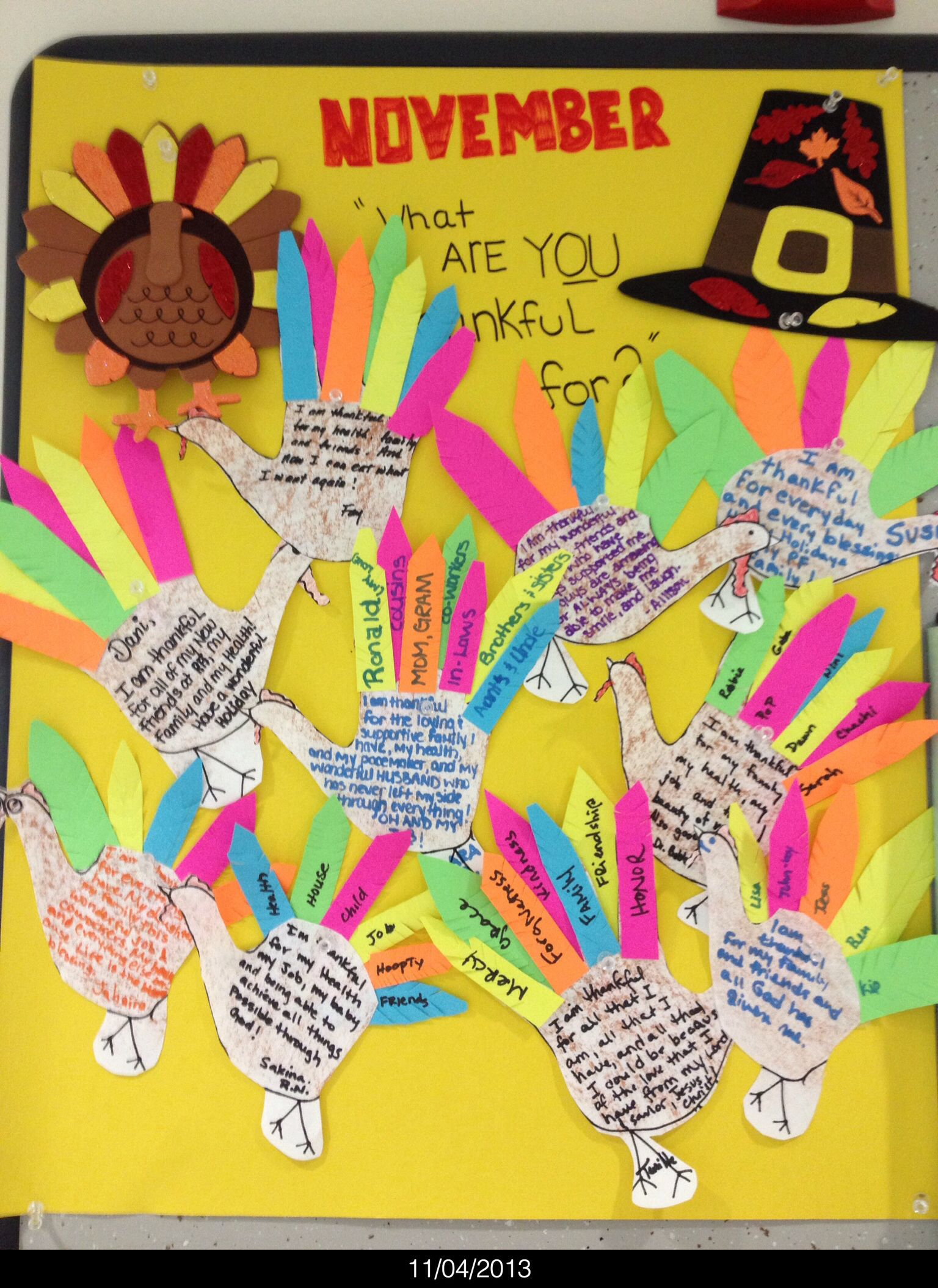 Team Board Stating What Are You Thankful For Turkey S