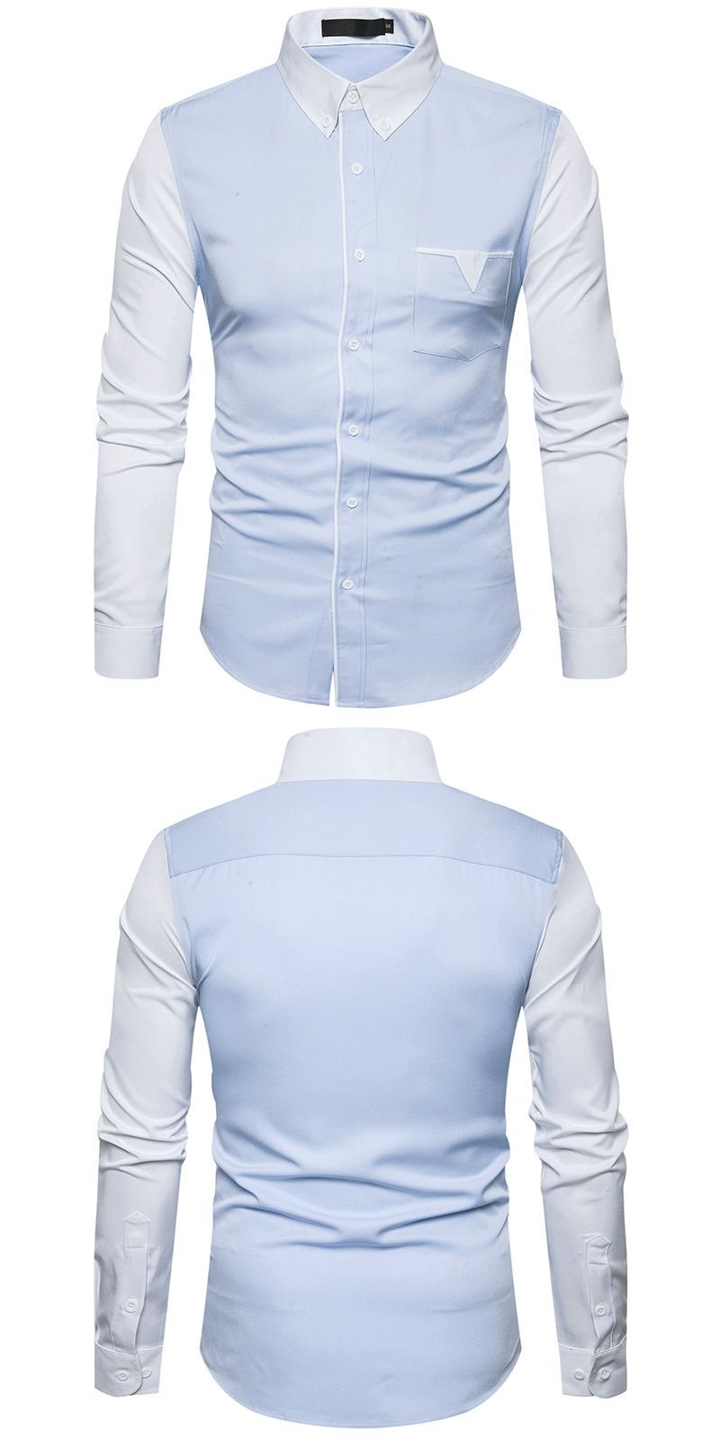 Men s Fashion Shirt 2017 Autumn New Sleeves Stitching European and American  Style Leisure Lapel Long Sleeved 7284e98fa010