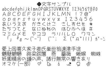 細身の丸文字がかわいい日本語フリーフォント S2gつきフォント