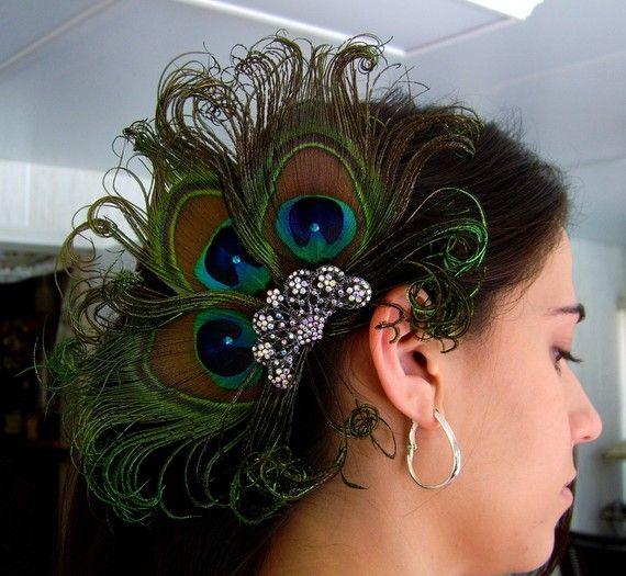 Peacock Wedding Ideas Etsy: Peacock Wedding Bridal Feather Fascinator, Peacock Veil