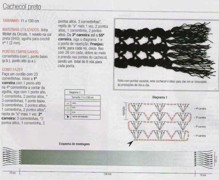 Bufanda Red Negra Crochet Patron - Patrones Crochet | mitones y mas ...