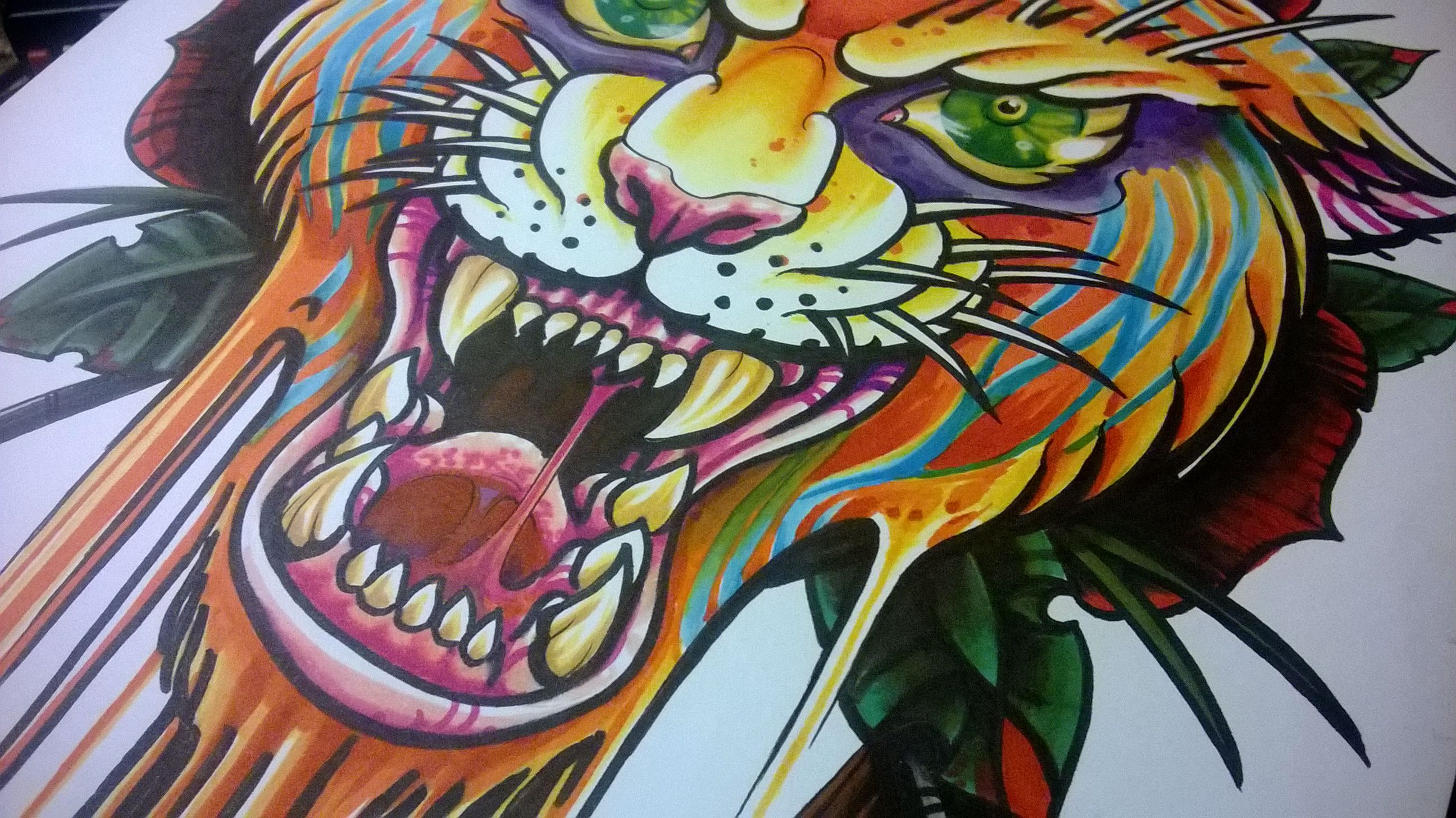 color bomb Tiger #spytattoo  marker on Bristol board by the Spy