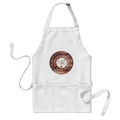 #vintage - #Woodland Wedding Monogram Wood Leaf Wreath Bird Adult Apron