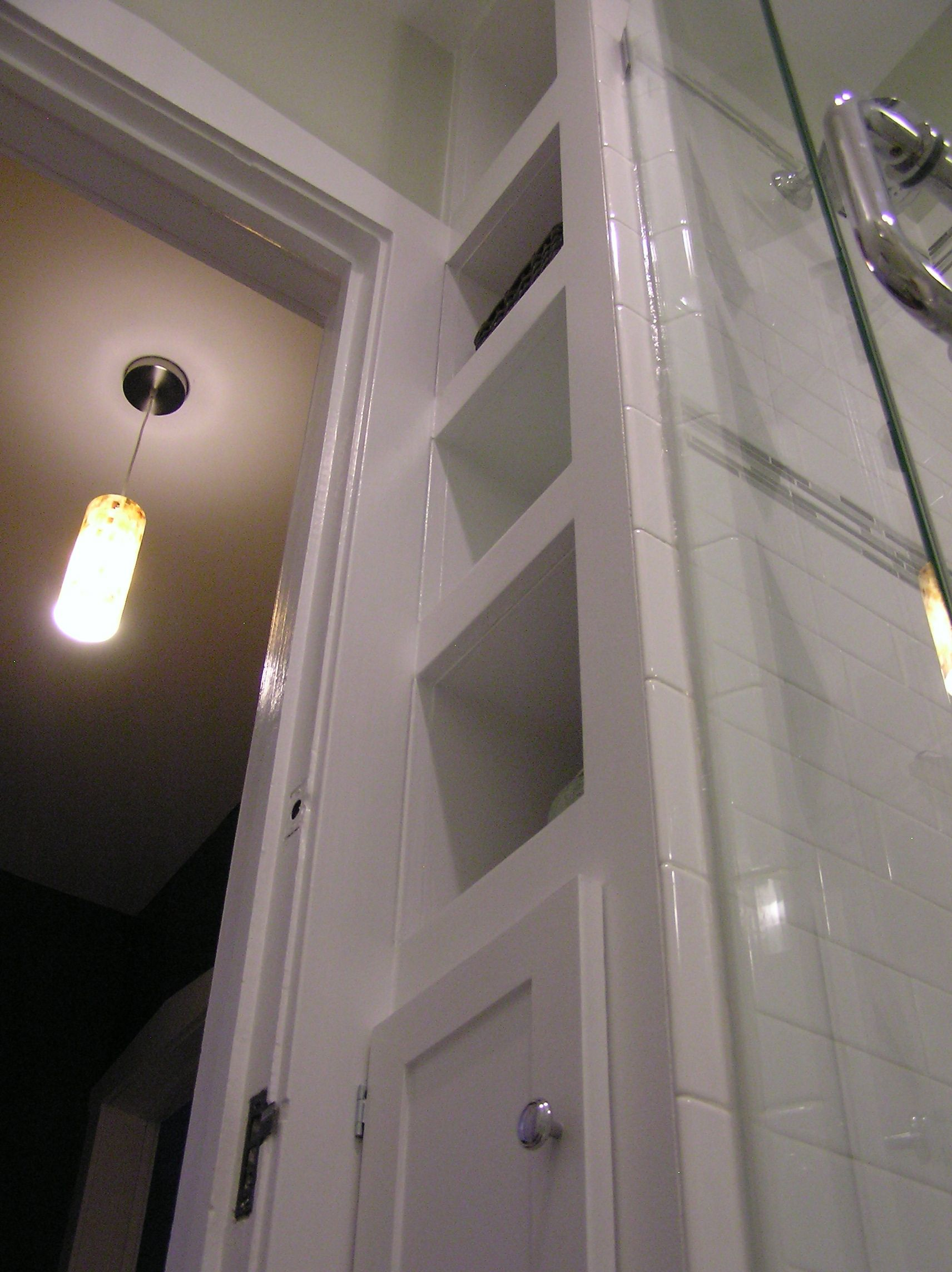Built in bathroom wall storage - Narrow Built In Shelves Are Only 12 Wide But Pack A Ton Of Storage