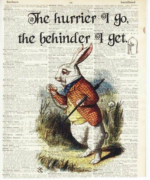 Rabbit print,The hurrier I go the behinder I get,fun,inspirational quote