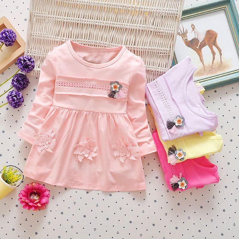 be9939438 WYNNE GADIS Autumn Baby Girls Cotton Long Sleeve Flower Princess ...