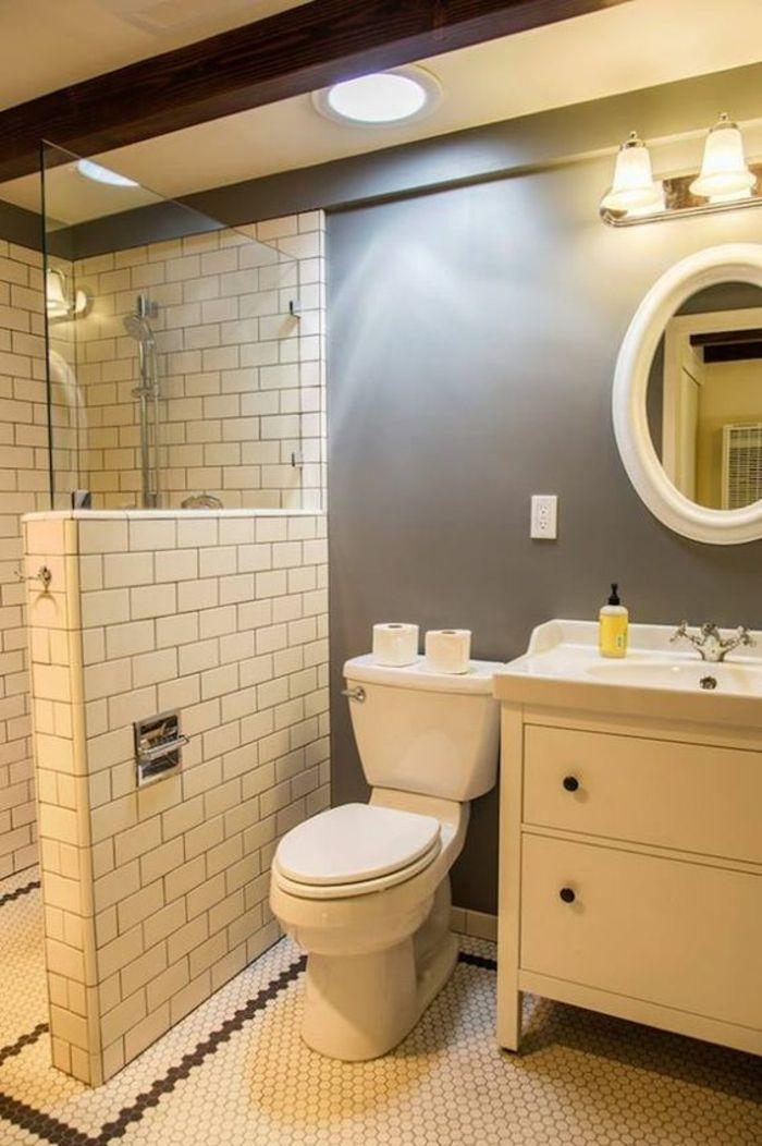 petite salle de bains modele bain petit espace avec separateur espace en briques blanches