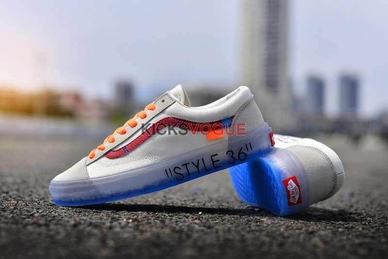 2a0854a9d4df97 Custom Off-White x Vans Style 36 Marshmallow Racing Red Ice Blue Sole