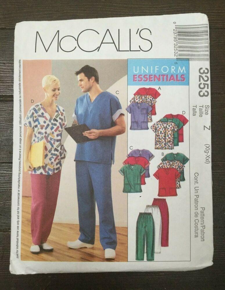 82185a4446cc McCalls 3253 Medical Scrubs Uniform Top Pants Cardigan XL-XXL Chest 42-48  Uncut