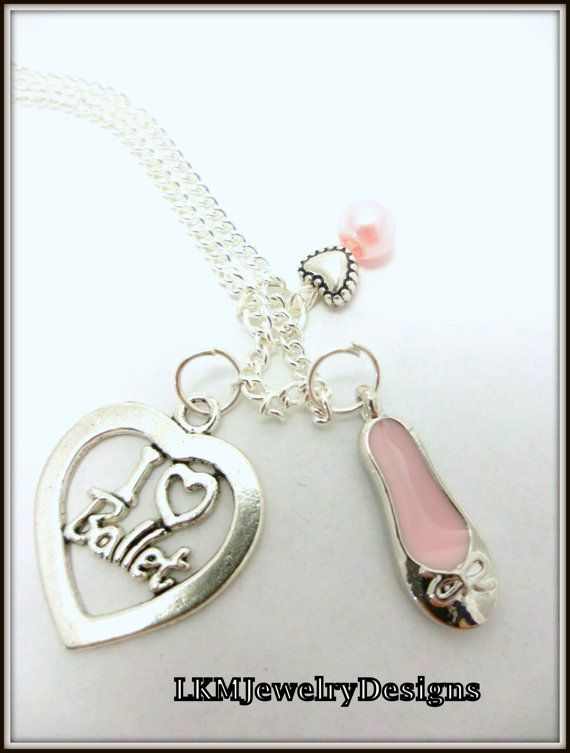 Ballerina Necklace, Silver I love Ballet heart Charm Pendant, Dancer Necklace, Gift idea for Ballerina, recital, Ballet Slipper, recital