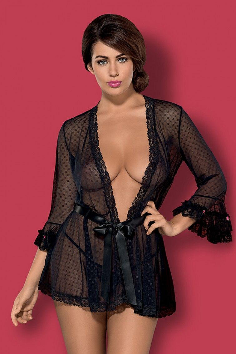 618800a65e00 Piccorosa Robe   Thong Sexy Nightwear Set. Sensual see through patterned  robe with flared 3
