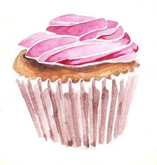 Lovely cupcake illustration art watercolor food and - Jolie cupcake ...