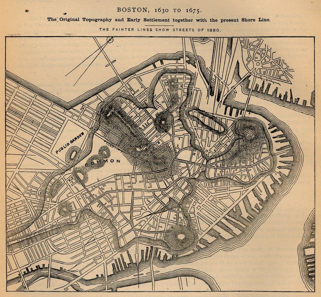 old maps of boston Map Of Boston 1600s Boston History Map Historical Maps old maps of boston