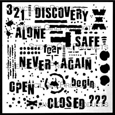 Text and Texture Discovery Stencil by Seth Apter for StencilGirl $7.00