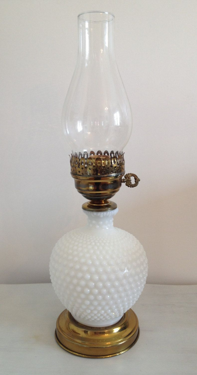 Vintage Hurricane Hobnail Milk Glass Table Lamp By SHOPtulaVintage On Etsy