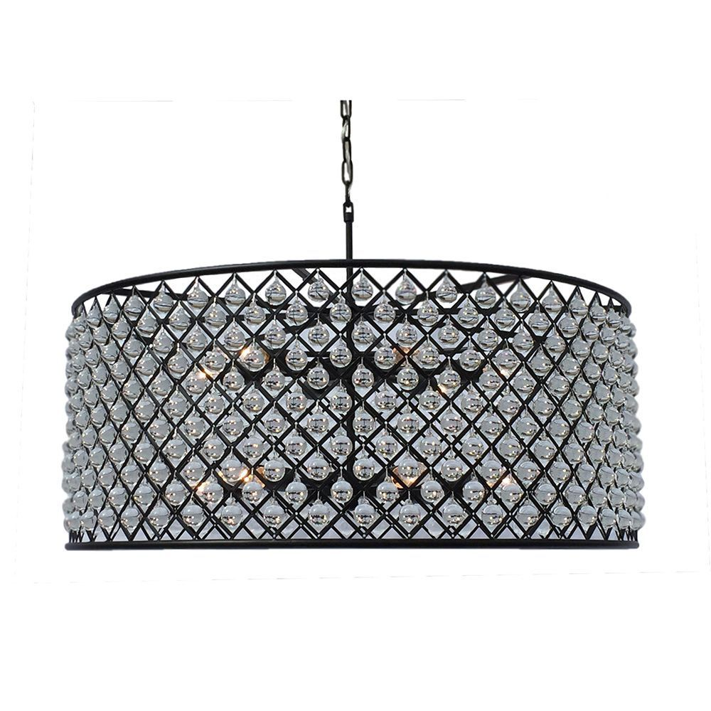 Cassiel large black drum crystal chandelier cassiel drum chandelier