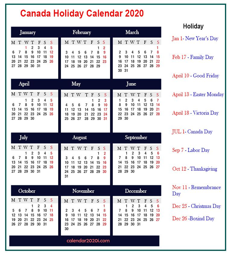 Free 2020 Calendar Canada Printable With Holidays In 2020