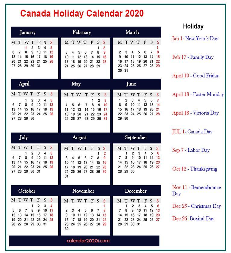 2020 Canada Vertical Calendar School holiday calendar