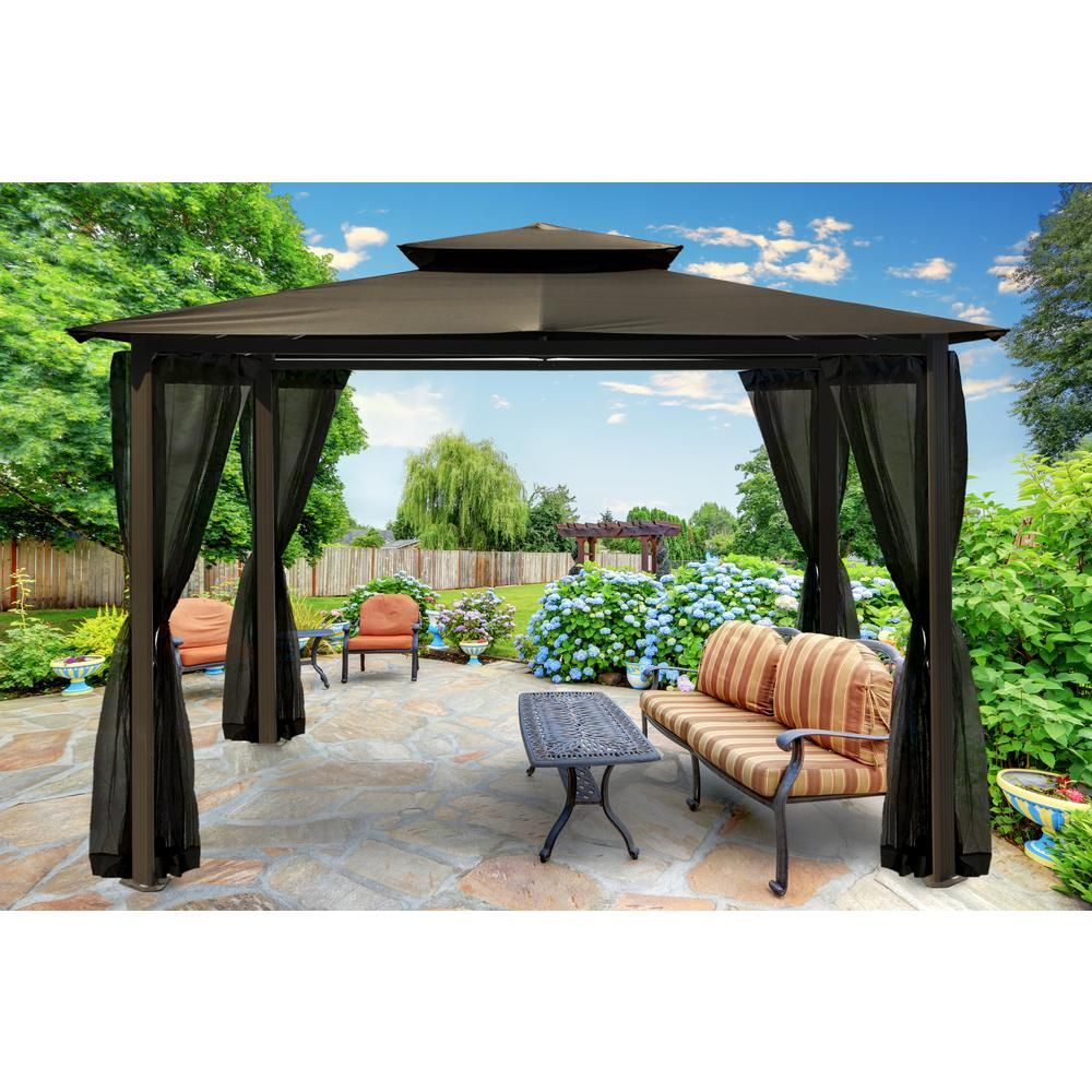 Paragon Outdoor Paragon 10 Ft X 12 Ft Grey Roof Outdoor Gazebo With Mosquito Netting Gz584egk Gazebo Outdoor Gazebos Aluminum Gazebo