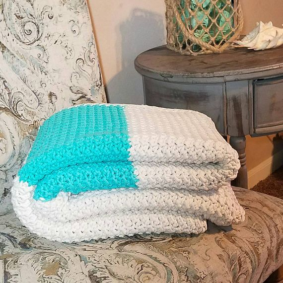 Beach Themed Throw Blanket Simple Beach Decor Beach Blanket Crochet Blanket Crochet Throw  Beach Review
