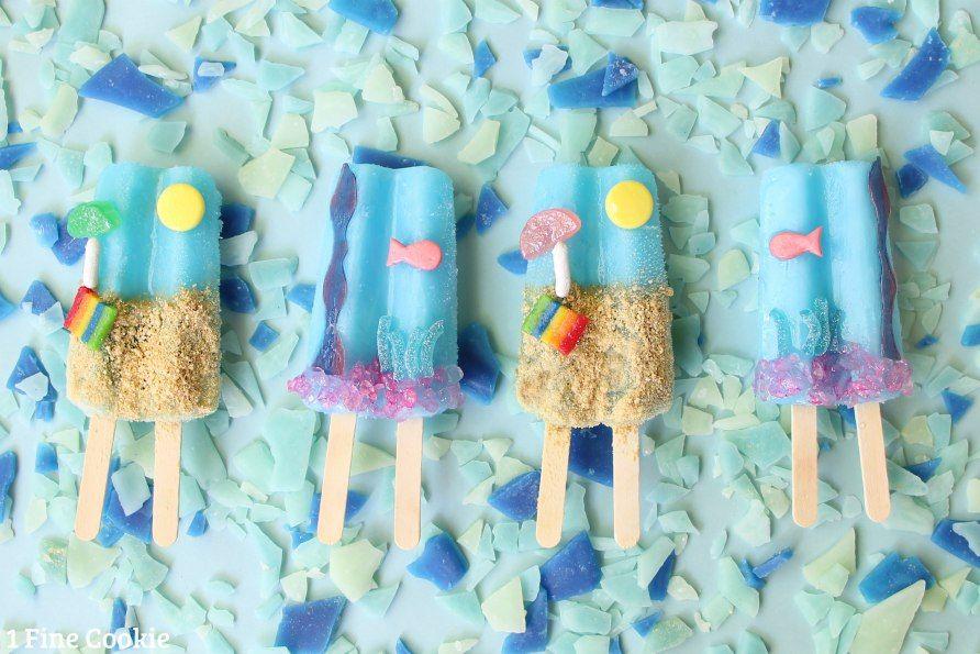 ocean and beach popsicles, ocean, under, the, sea, underwater, beach, popsicles, idea, kids, recipe, cute, candy, summer, birthday, dessert,