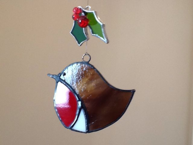 Genuine stained glass robin christmas decoration