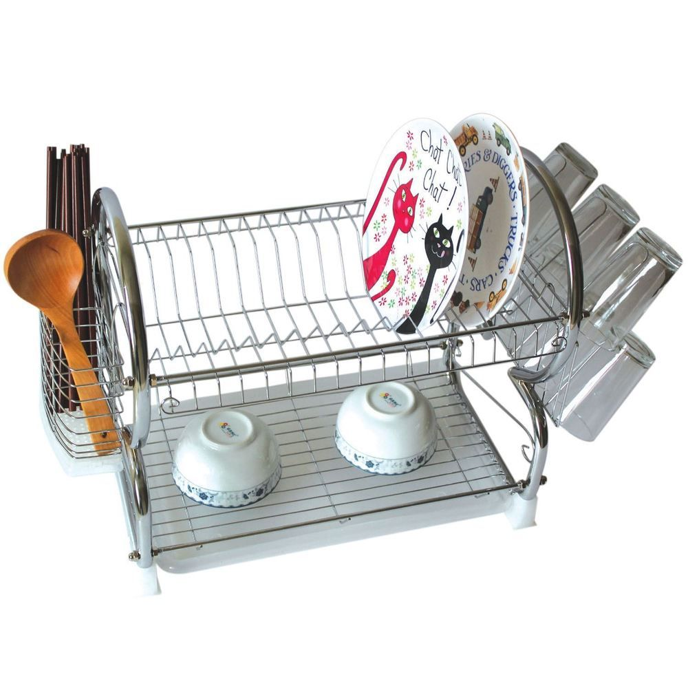 2 Tier Chrome Plate Dish Cutlery Cup Drainer Rack Drip Tray Plates Holder New in Home  sc 1 st  Pinterest & 2 Tier Chrome Plate Dish Cutlery Cup Drainer Rack Drip Tray Plates ...
