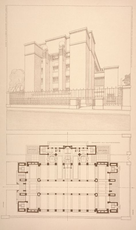 Administration Building For The Larkin Co Floor Plan And Perspective 1903 Frank Lloyd Wright Buildings Frank Lloyd Wright Design Frank Lloyd Wright