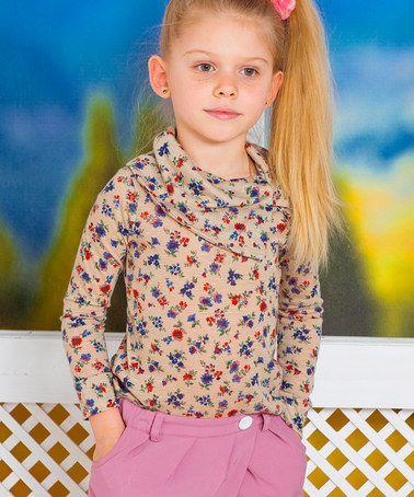Another great find on #zulily! Beige & Blue Floral Cowl Neck Top - Toddler & Girls #zulilyfinds