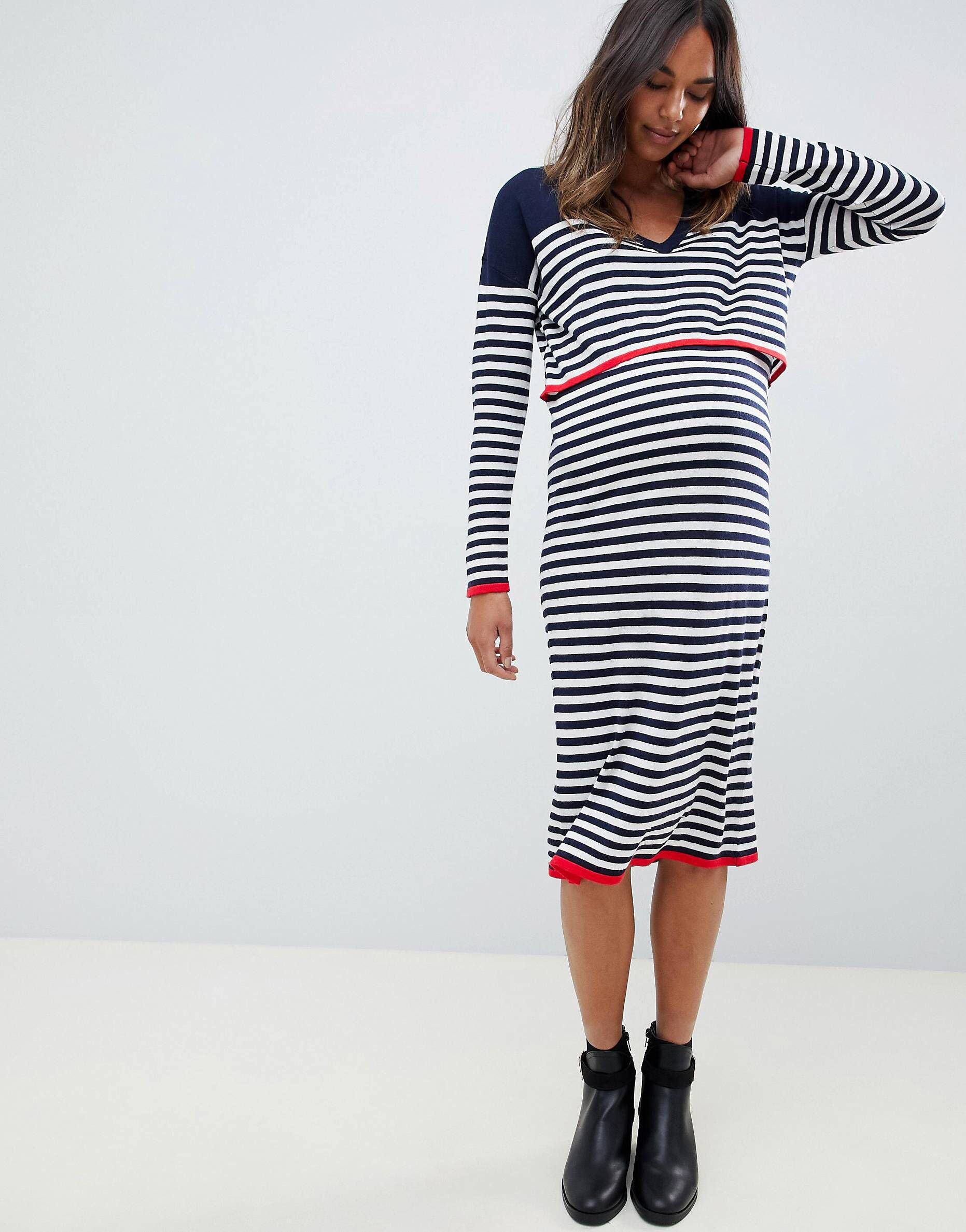2e103b80708db DESIGN Maternity Nursing eco jumper dress in fine knit in stripe ...