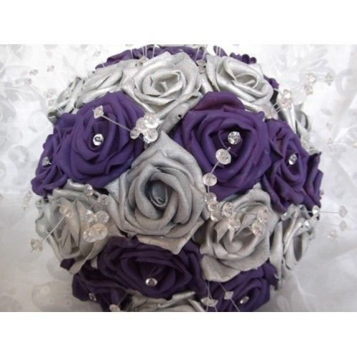 Purple And Silver Bouquets For Weddings