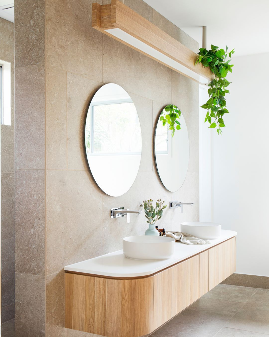 Home Beautiful On Instagram A Curved Vanity Serves As A Point Of Difference In This G Vintage Bathroom Mirrors Master Bathroom Decor Country Bathroom Mirrors