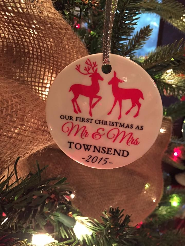 Newlywed Reindeer Ornament Personalized Holiday Ornament