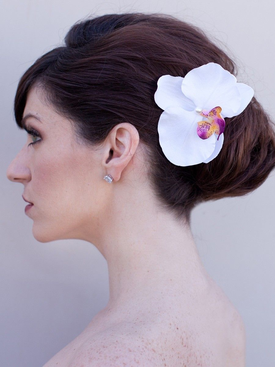 hair comes the bride - orchid flower hair pin ~ shiloh in white