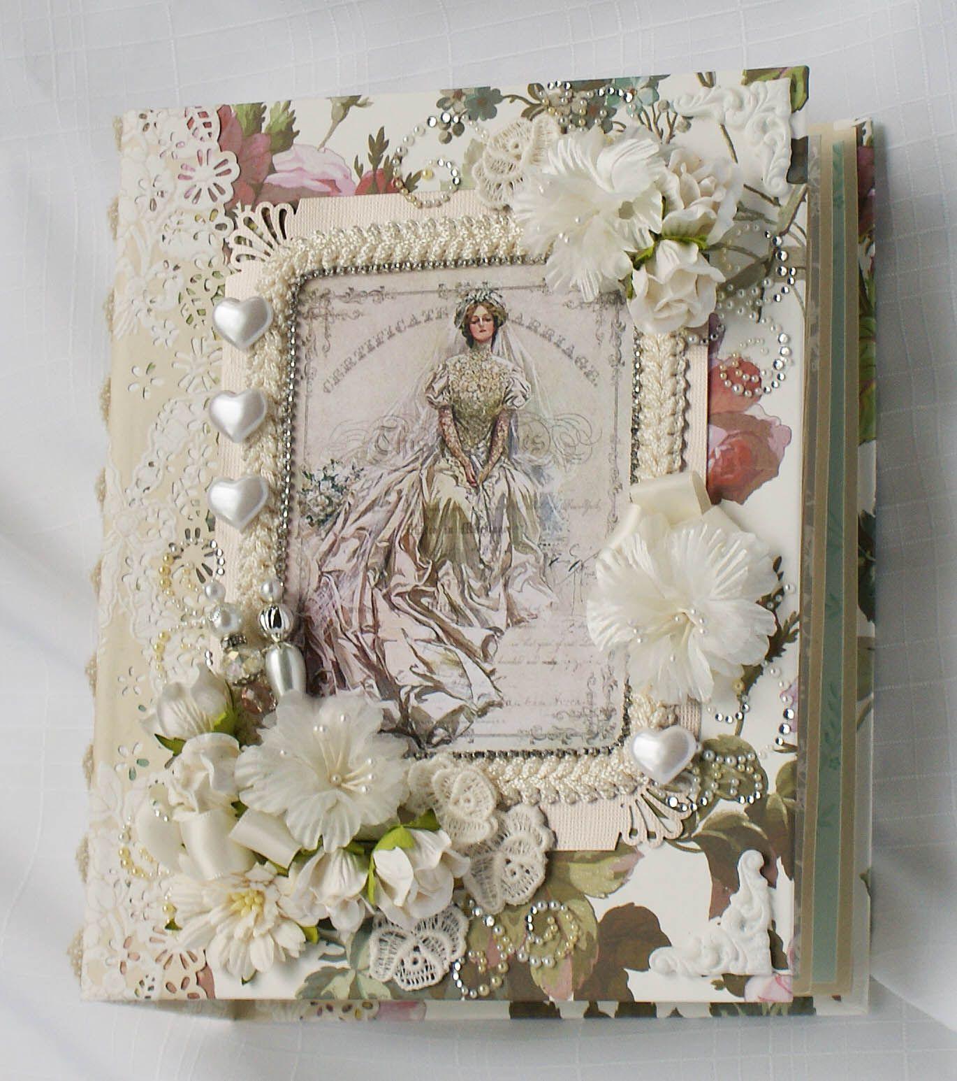 Wedding Handmade chipboard scrapbook photo album Anna