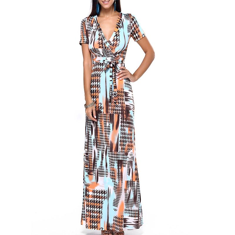 e3d520340aa89 new style women Multicolor Floral Print Split Beach Wear slim Maxi Dress  Women Short Sleeve V