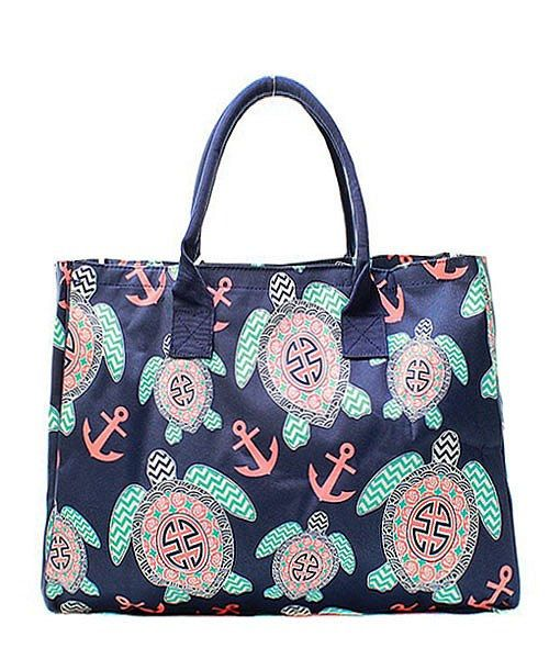 Monogrammed Personalized Large Tote Bag Turtle Anchor Preppy Tote ...
