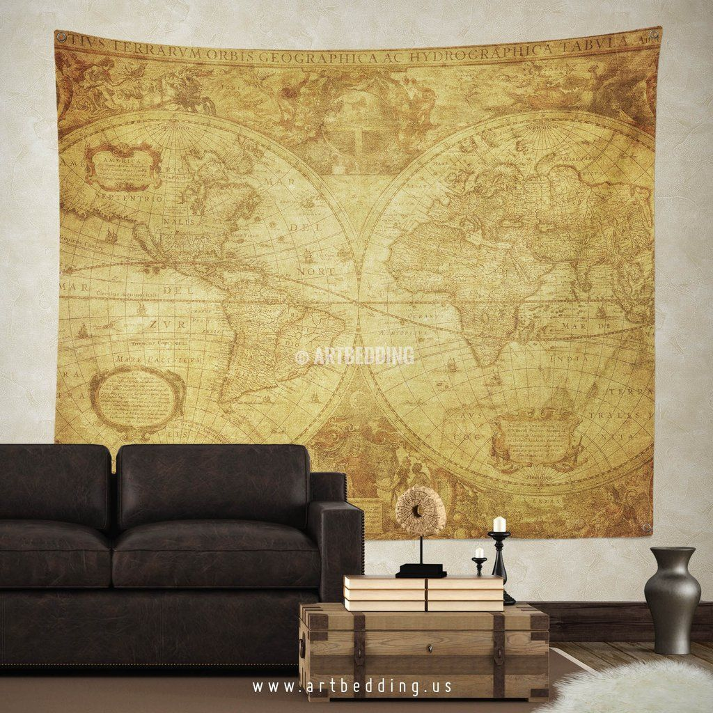 Ancient 1630 world map wall tapestry, vintage interior world map ...