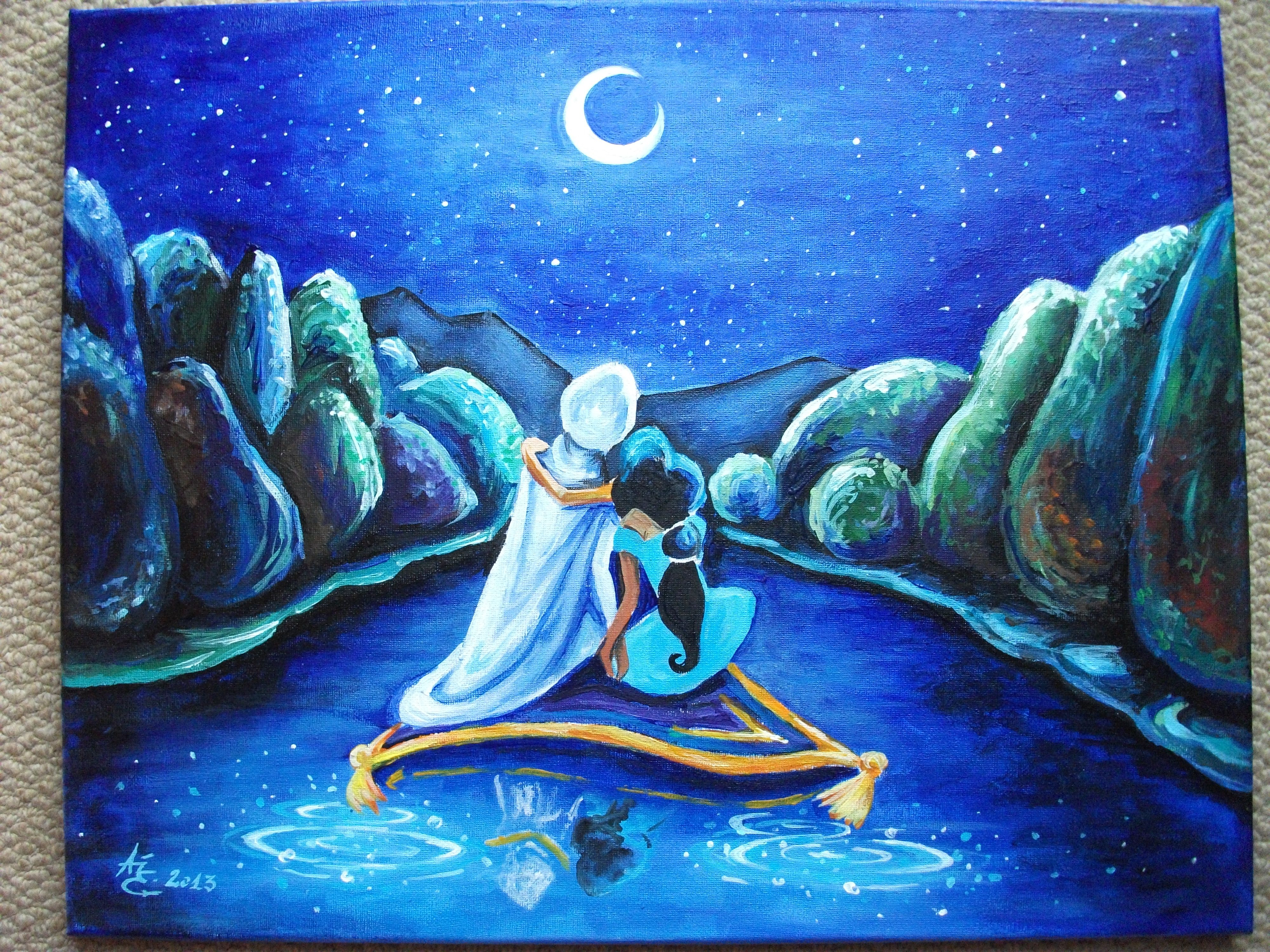 Aladdin A3 Acrylic Painting Disney Canvas Art Diy Art Painting Disney Canvas