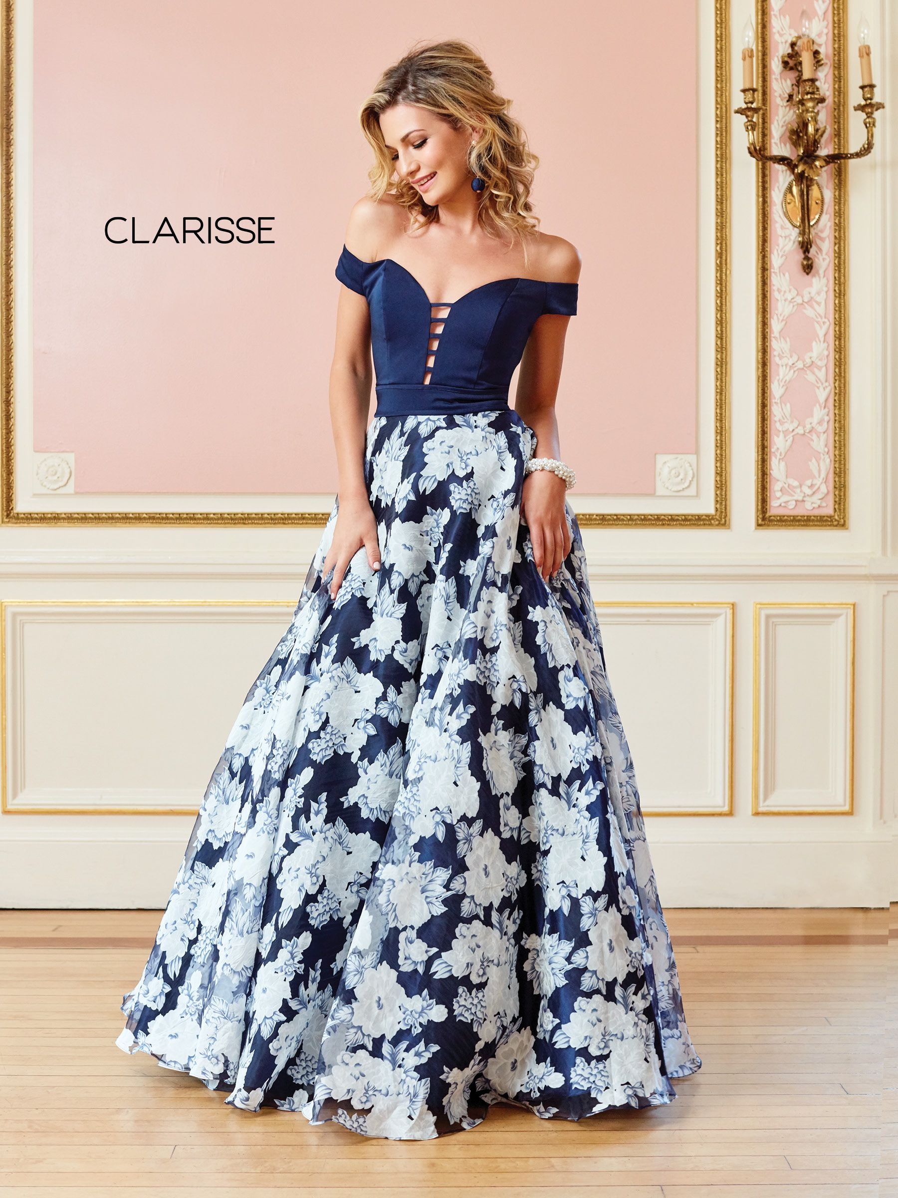 7089ba09bd6 4966 - Navy floral print off the shoulder ball gown