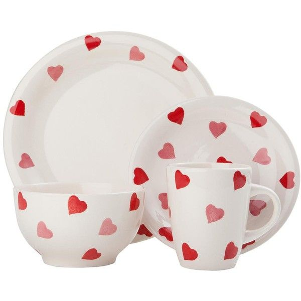 Hearts Dinner Set NOW Sabichiu0027s stoneware dinnerware set consists of four dinner plates four side plates four bowls u0026 and four matching mugs.  sc 1 st  Pinterest & Sabichi Hearts 16 Piece Dinner Set (£23) ? liked on Polyvore ...
